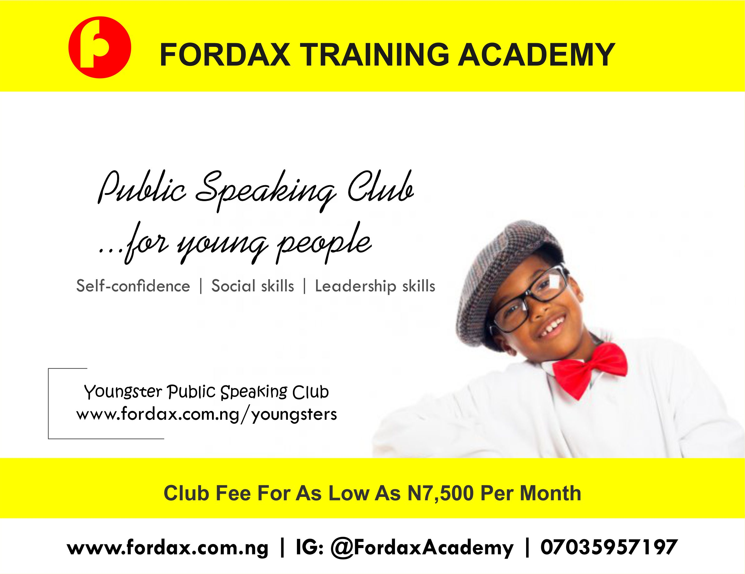 Youngster flyers Abuja public speaking for kids